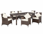 Modway Vista 7 Piece Dining Set in Chocolate White MY-EEI-1004