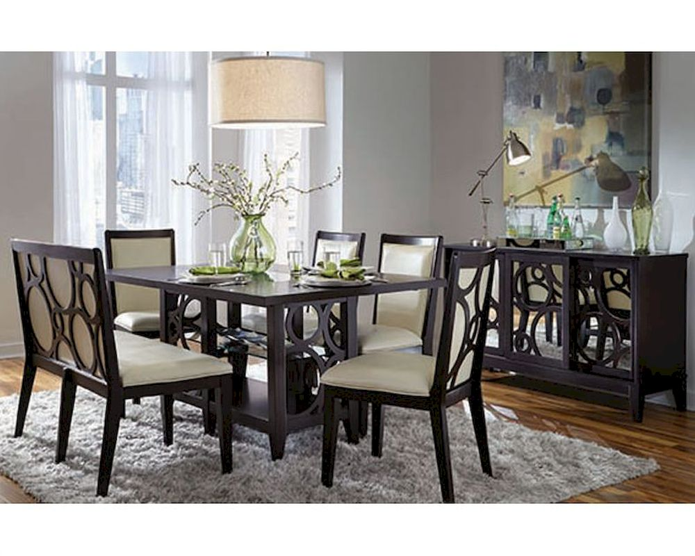 Najarian formal dining set w rectangle wood table planet for Formal dining set