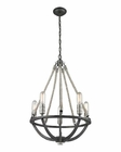 ELK Natural Rope 5 Light Chandelier in Silvered Graphite/Polished Nickel Accents EK-63056-5