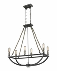 ELK Natural Rope 6 Light Chandelier in Silvered Graphite/Polished Nickel Accents EK-63055-6