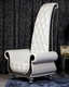 Neo-Classical White Italian Leather Tall Chair 44O6032