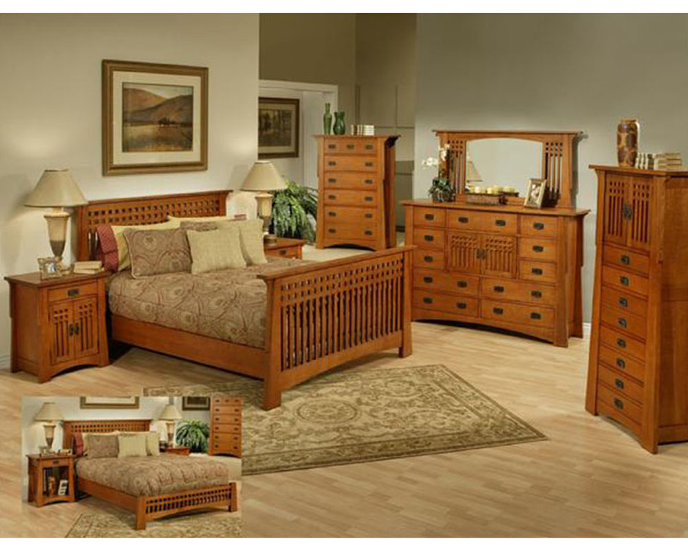Oak bedroom set in cherry finish bungalow by ayca ay ap5 for Oak bedroom sets