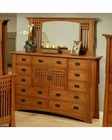 Oak Dresser w/ Mirror in Cherry Finish Bungalow by Ayca AY-AP5-0611DM