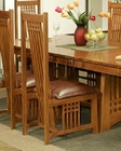 Oak Leather Seat Side Chair Bungalow by Ayca AY-AP5-2003 (Set of 2)