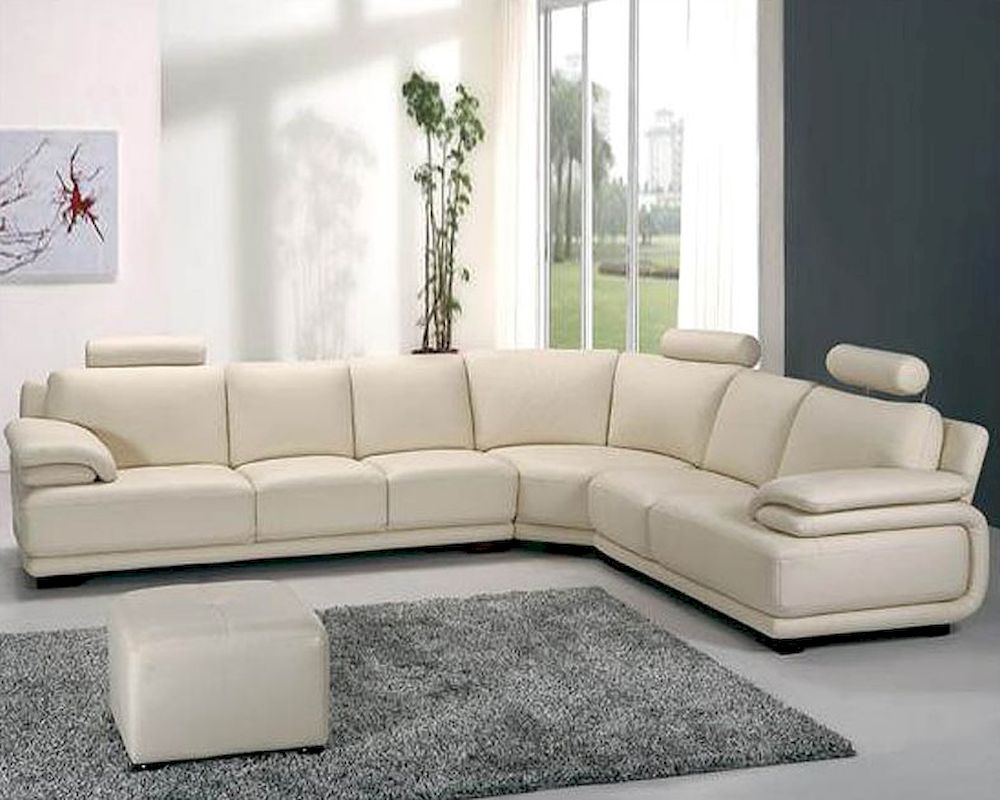 Off white leather sectional sofa set 44la31 for Sectional couch