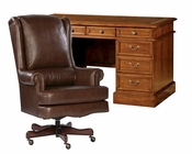 Office Set w/ Leather Top Pedestal Desk by Hekman HE-712612181-SET