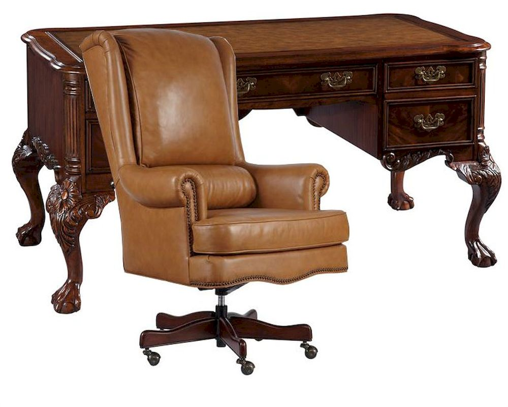 office set w leather top writing desk by hekman he 73992 set