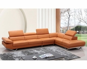 Orange Leather Sectional Sofa in Contemporary Style 44L5932