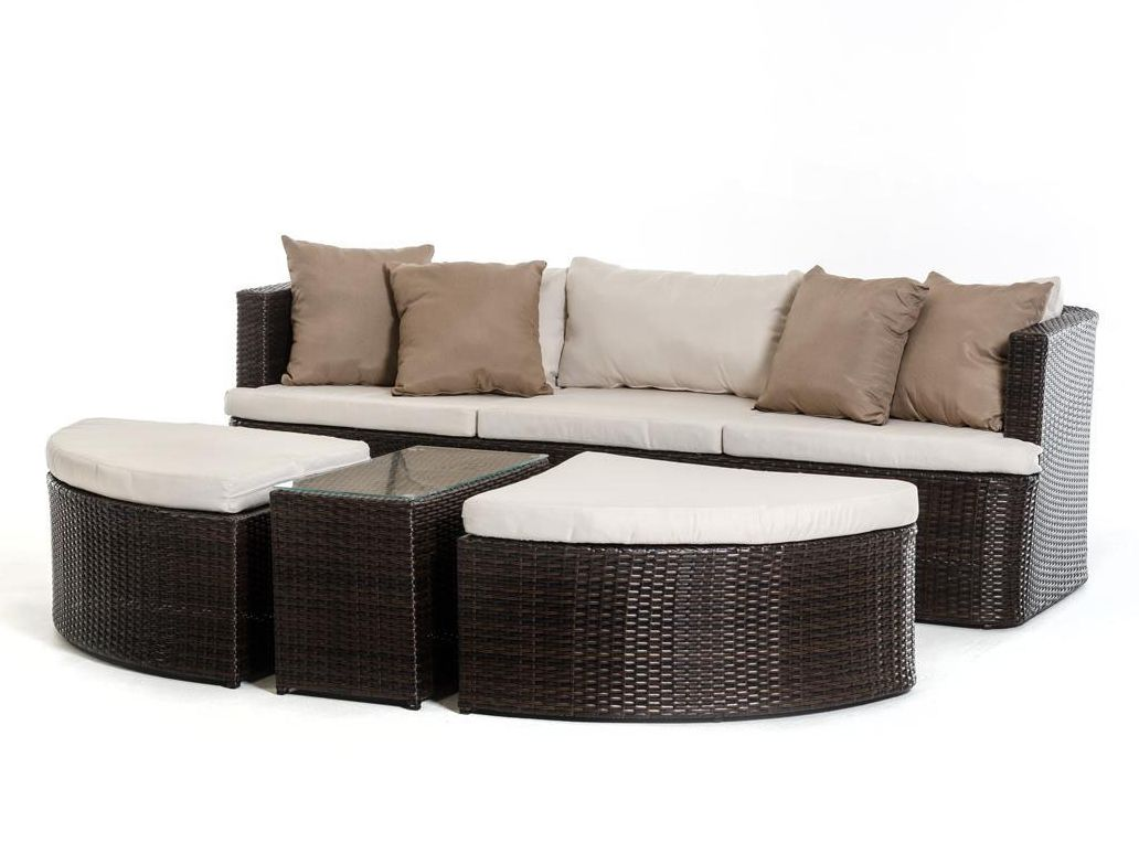 Outdoor brown beige sofa set in modern style 44p203 set for Tan sofa set