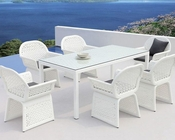 Outdoor White Dining Set in Contemporary Style 44P226-SET