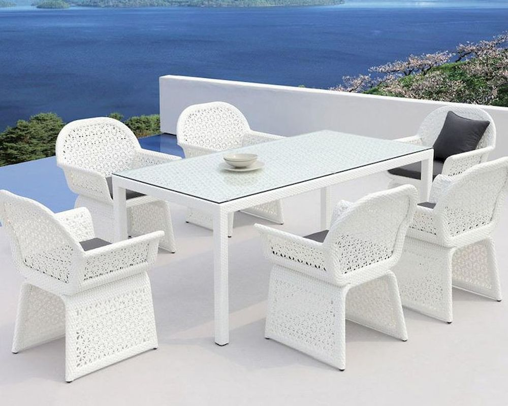 Outdoor White Dining Set In Contemporary Style 44p226 Set