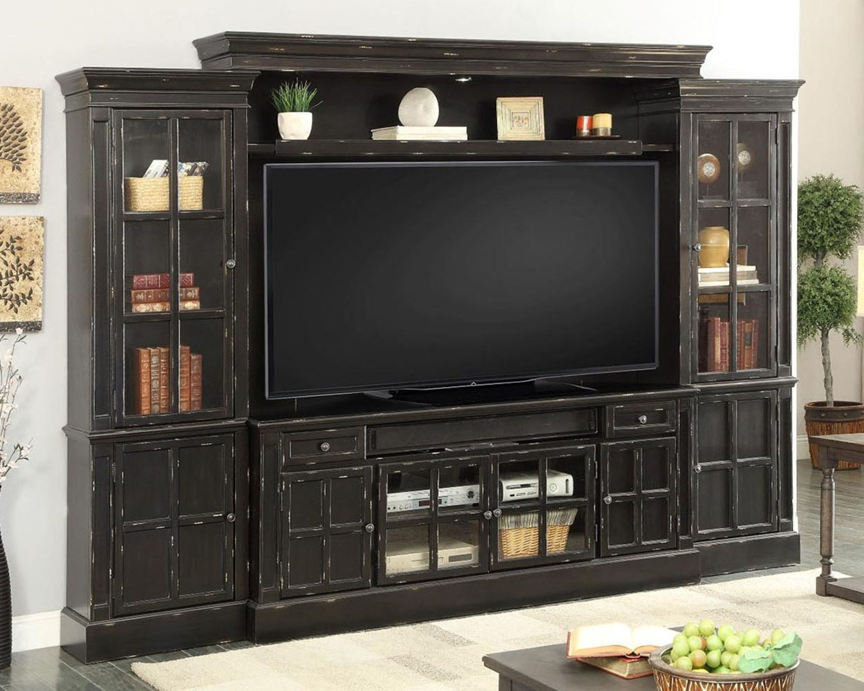 Home Entertainment Wall Units parker house 72in tv entertainment center wall unit concord ph-con