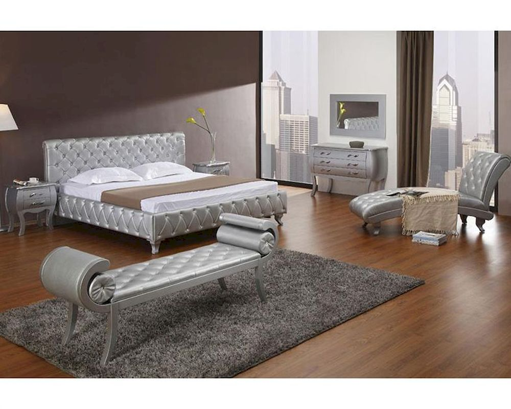 Platinum Edition Bedroom Set W/ Modern Bed With Crystals