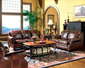 Princeton Rolled Arm Leather Sofa Set CO50066