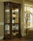 Pulaski Curved End Curio in Deep Brown Foxcroft Finish PF-102003