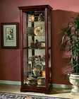 Pulaski Two Way Sliding Door Curio in Victorian Cherry PF-20717