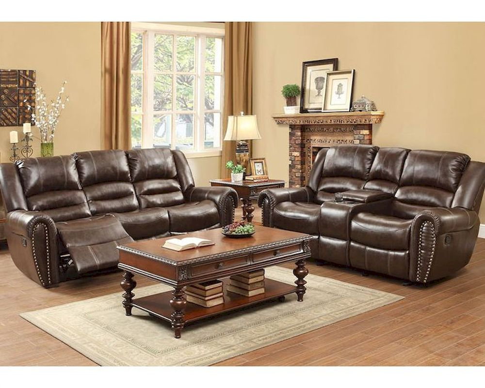 Reclining Brown Sofa Set Center Hill By Homelegance El