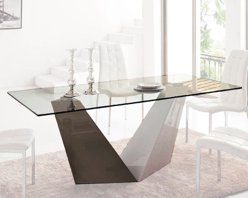 Rectangular Glass Top Dining Table 33 1018