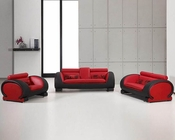 Red and Black Bonded Leather Sofa Set 44L2811RB