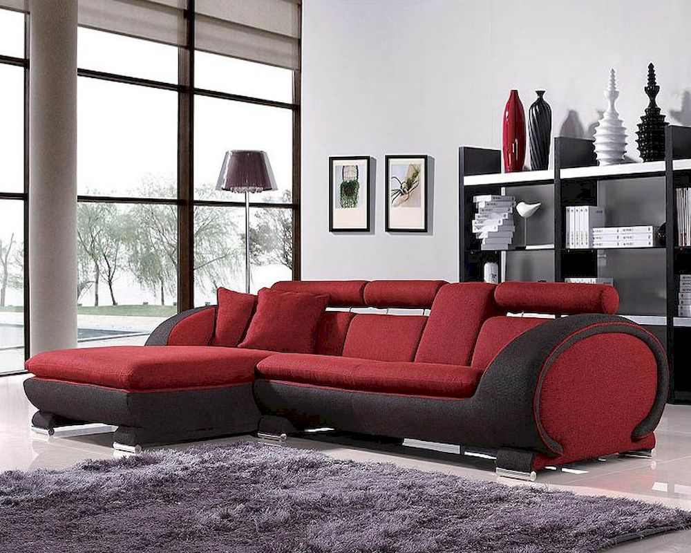 Red And Black Fabric Sectional Sofa Set 44l1088b