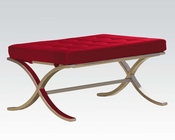 Red and Chrome Ottoman by Acme AC96378