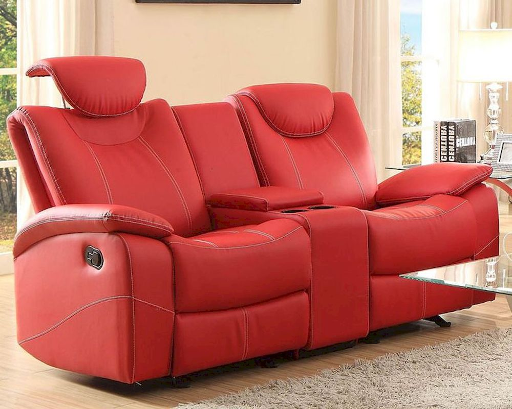 Red Double Glider Reclining Loveseat Talbot By Homelegance El 8524rd 2