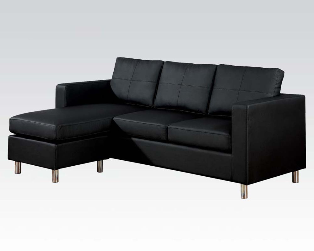 Reversible chaise sectional sofa kemen black by acme for Black sectional with chaise