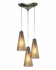 ELK Ribbed Glass Collection 3 Light Chandelier in Satin Nickel EK-10333-3