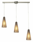 ELK Ribbed Glass Collection 3 Light Chandelier in Satin Nickel EK-10333-3L