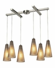 ELK Ribbed Glass Collection 6 Light Chandelier in Satin Nickel EK-10333-6