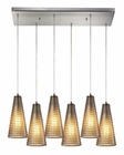 ELK Ribbed Glass Collection 6 Light Chandelier in Satin Nickel EK-10333-6RC