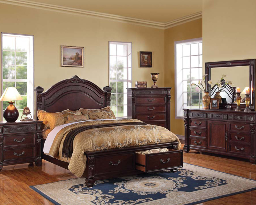 Rich Brown Bedroom Set Vevila By Acme Furniture Ac20500set