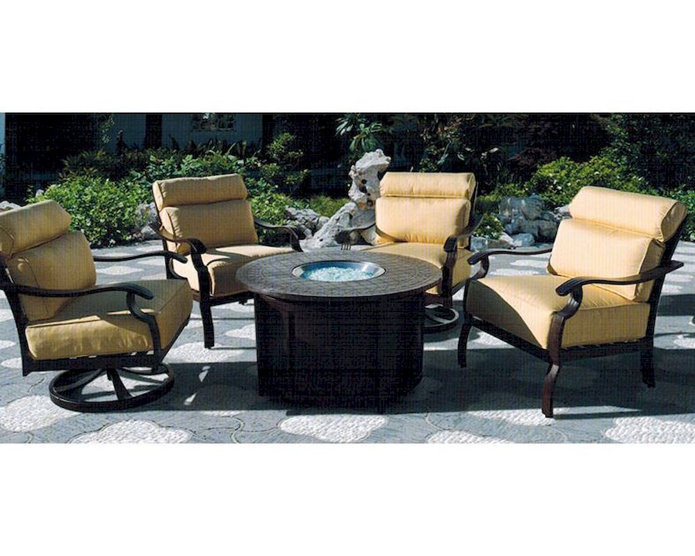 Riva patio sitting set w fire pit table by sunny designs for Sitting table designs