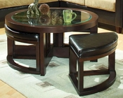 Round Cocktail Table w/ 4 Ottomans Brussel by Homelegance EL-3219PU-01