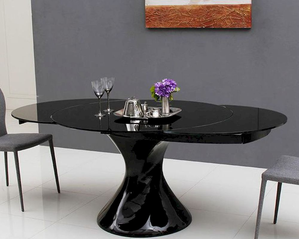 Round extendable lacquer dining table 44d2609xt 5 for Round extendable dining table