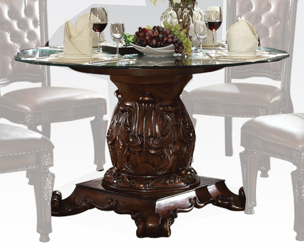 Round glass dining table vendome cherry by acme furniture for Cherry dining table
