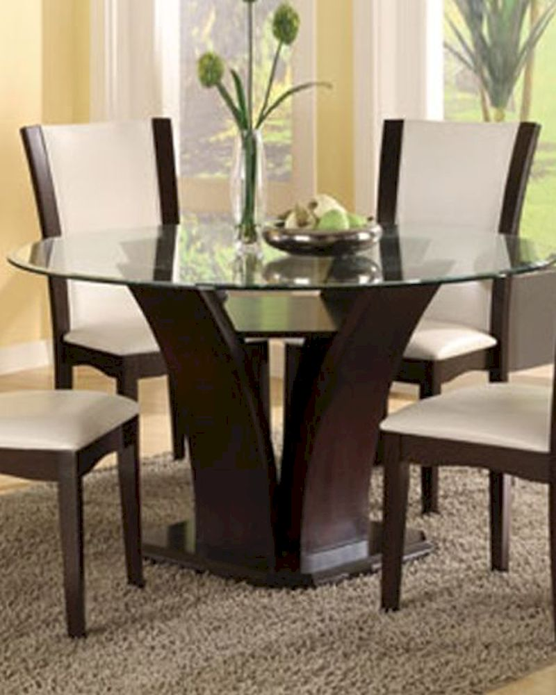 Round glass top dining table daisy el 710 54 for Round glass dining table