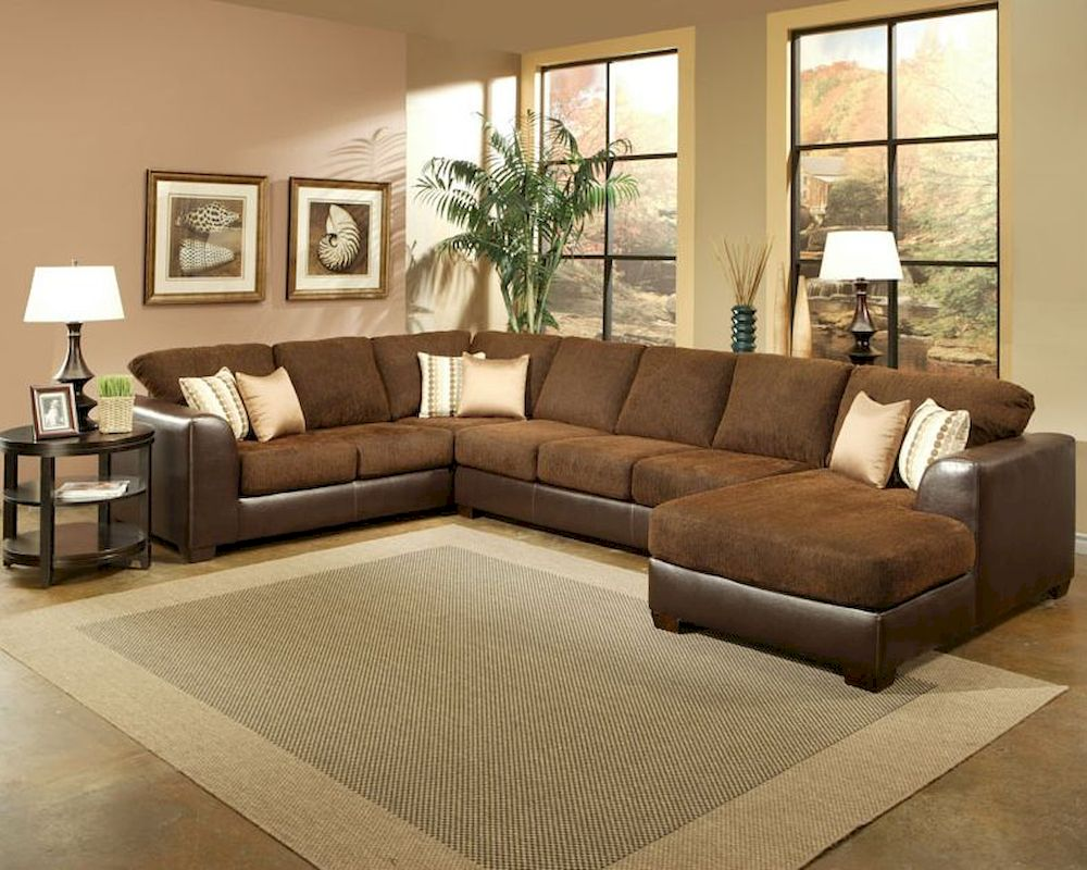 Sectional set york in rust finish bh 47ss271 for Living room with rust colored sofa