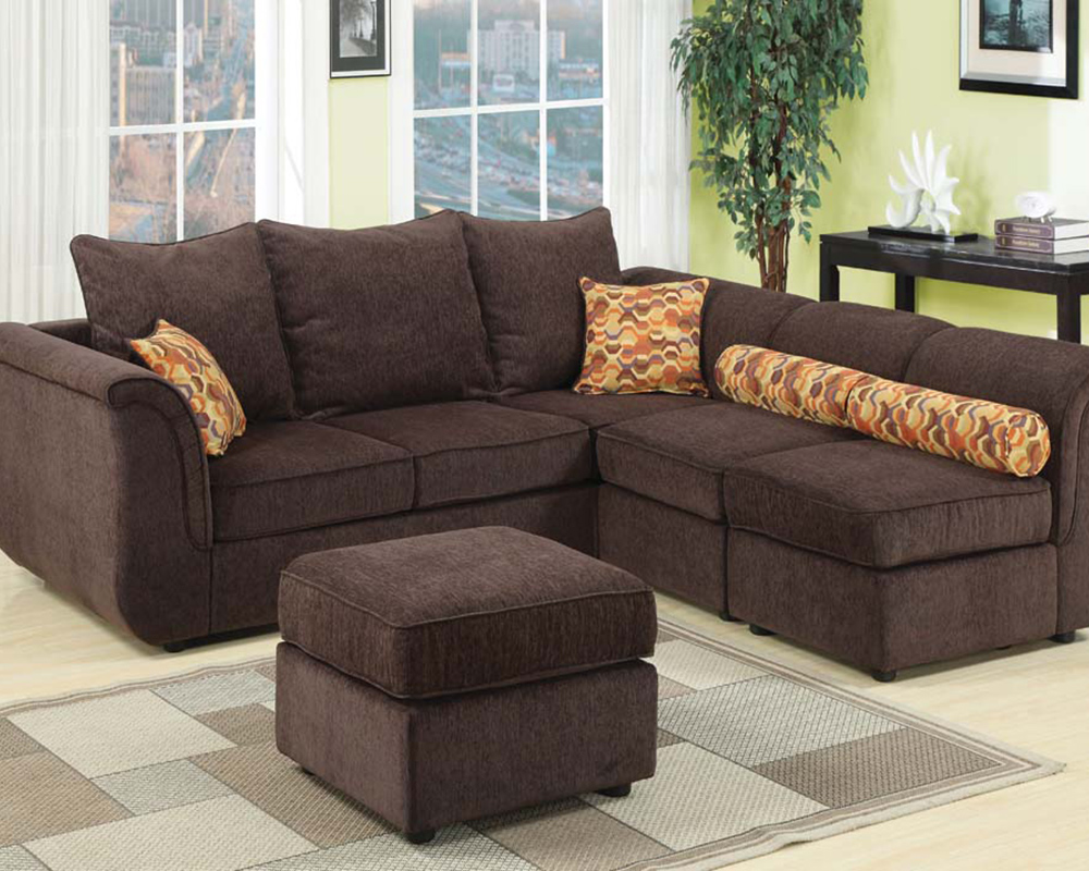 Sectional Sofa W Ottoman In Chocolate Caisy By Acme