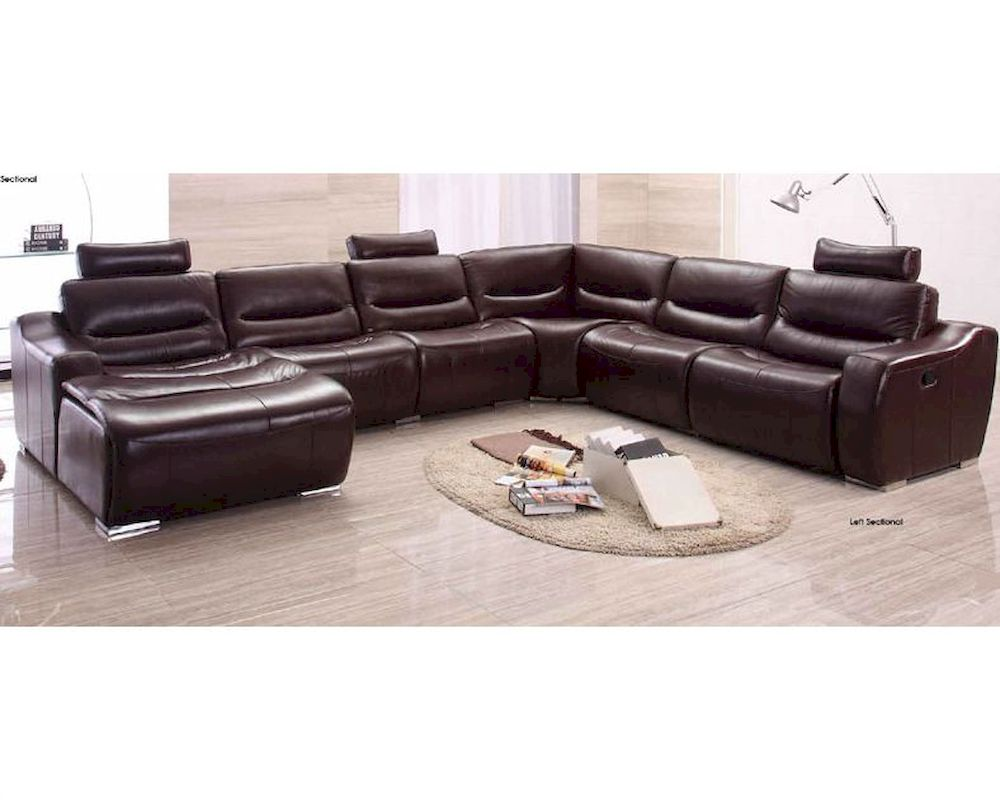 sectional sofa w recliner in brown finish 33ls271. Black Bedroom Furniture Sets. Home Design Ideas