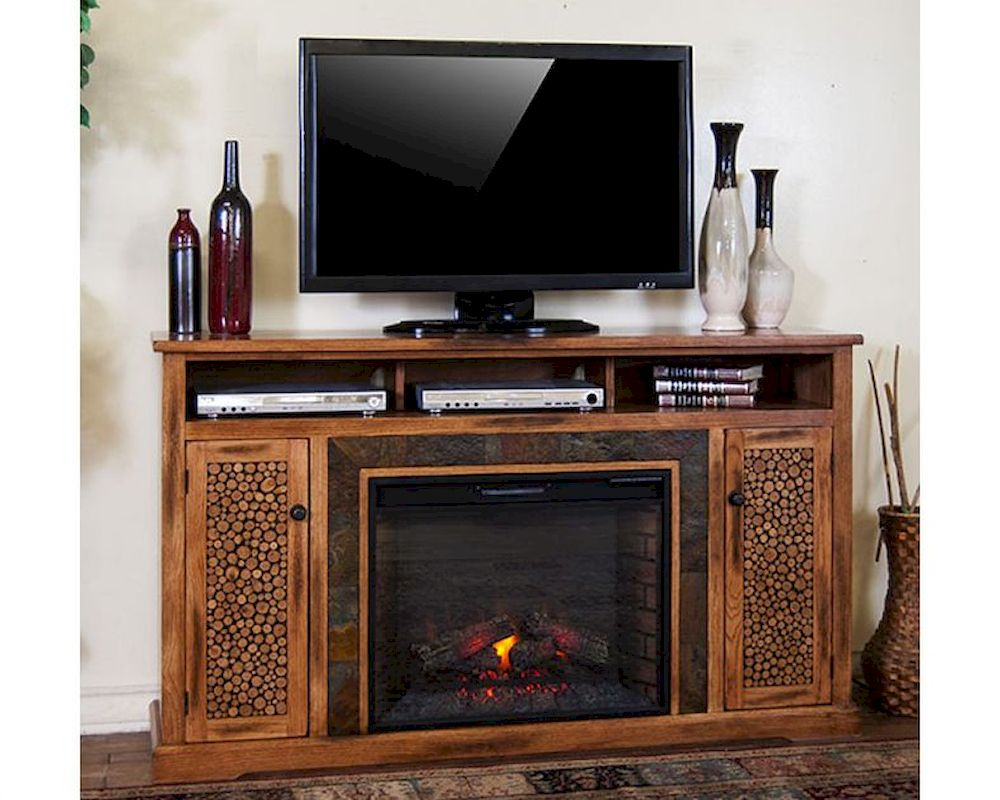 Sterling 56 inch tv stand with electric fireplace walnut 23im0468 w502 - Sedona Fireplace Tv Console By Sunny Designs Su 3489ro 66r