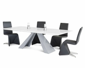 Set w/ Rectangular White High Gloss Table 44DCT8958-SET