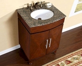 "Silkroad 26"" Single Sink Cabinet Brown Granite Top, White Sink"