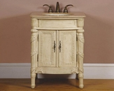"Silkroad 26"" Single Sink Cabinet Travertine Top, Ivory Sink"