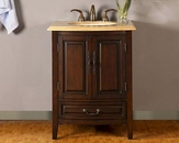 "Silkroad 27"" Single Sink Cabinet Travertine Top, LED Lights"