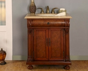 "Silkroad 32"" Single Sink Cabinet Travertine Top, LED Lights"