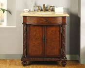 "Silkroad 34"" Single Sink Cabinet Travertine Top, LED Lights"