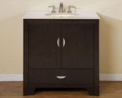 "Silkroad 36"" Single Sink Cabinet Cream Marfil Top, White Sink"