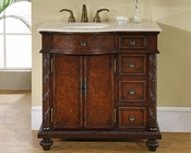 "Silkroad 36"" Single Sink Cabinet (Left Sink) Crema Marfil Top"