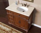 "Silkroad 36"" Single Sink Cabinet (Right Sink) Marble Top"